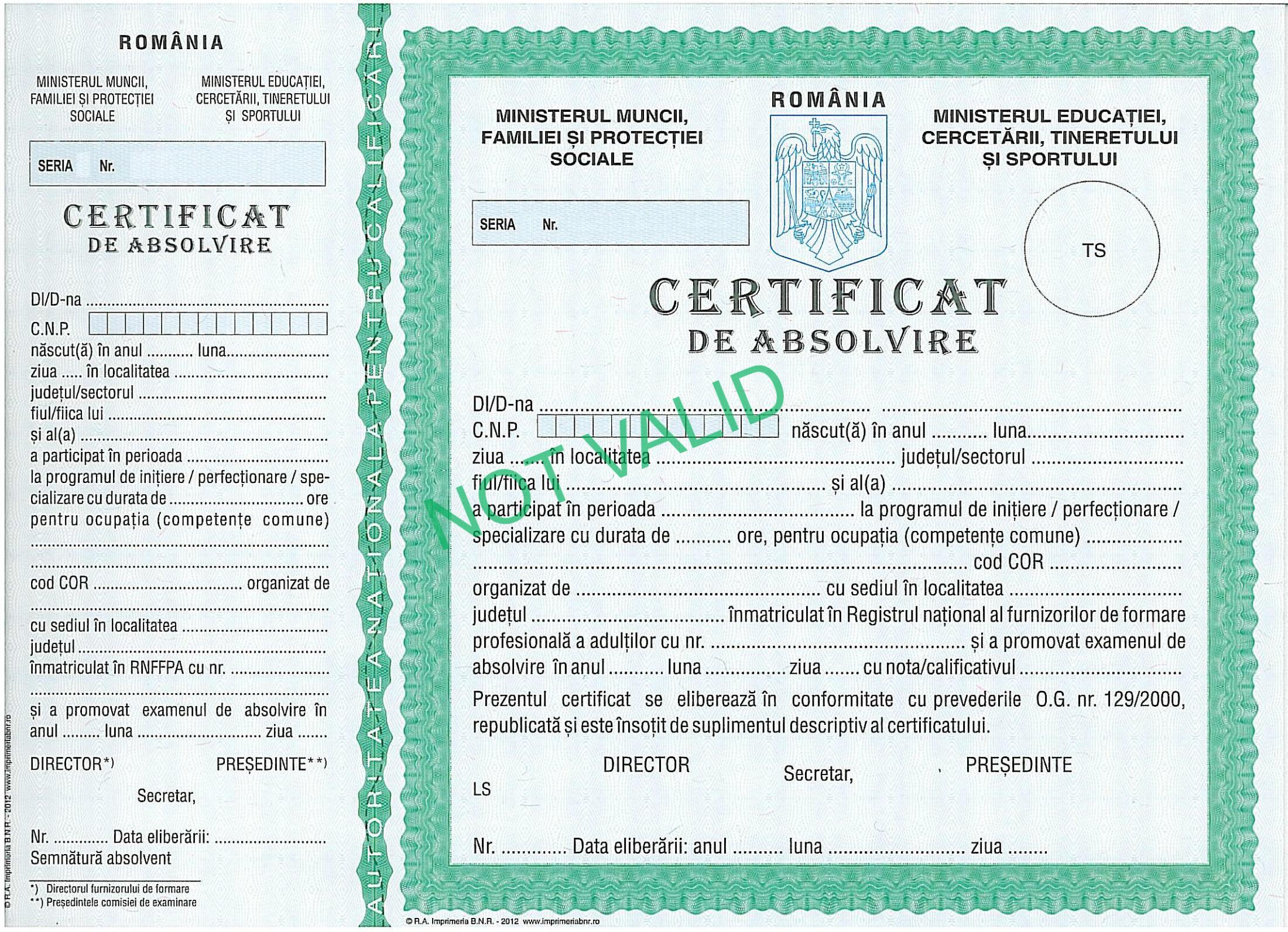 certificat de absolvire scoala de cosmetica